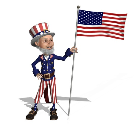 sam: Uncle Sam proudly displays the US flag - 3D render. Stock Photo
