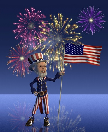 displays: Uncle Sam proudly displays the US flag; with a 4th of July fireworks display in the background - 3D render with digital painting.