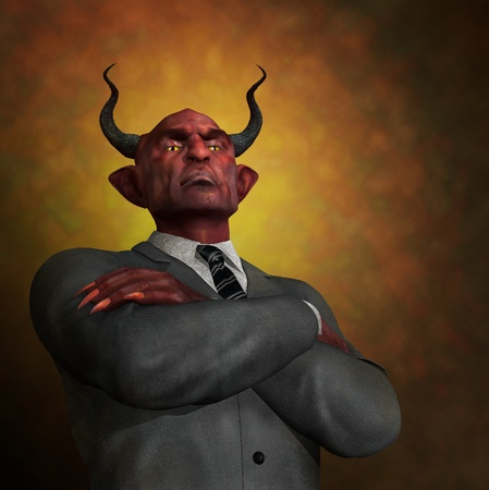 unethical: An arrogant ruthless demon in business attire - 3D render with digital painting.