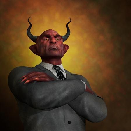 demonio: Un demonio despiadado arrogante en atuendo de negocios - 3D procesar con pintura digital.