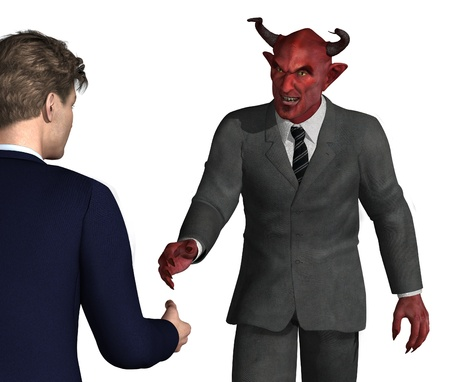 greedy: An unsuspecting businessman is about to shake hands with the devil - bad idea! 3D render with digital painting.