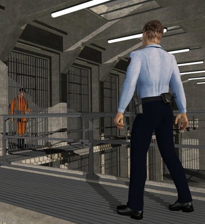 correctional officer: A corrections officer patrols a prison cellblock - 3D render.
