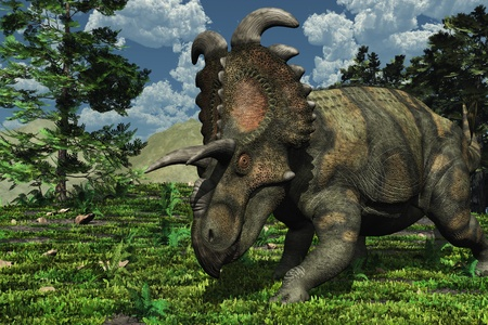 cretaceous: Prehistoric scene featuring an albertaceratops, a dinosaur that lived during the Late Cretaceous period.