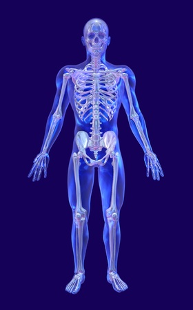 orthopedics: A blue glass man with an iridescent skeleton - 3d render.