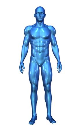 cuerpo humano: Render 3D que representa a un hombre azul brillante permanente - render 3D.