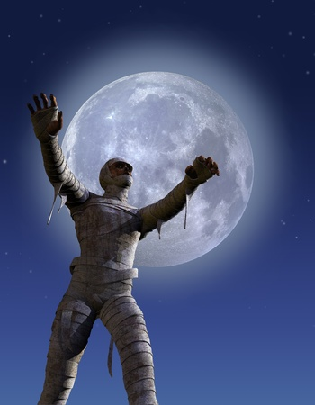 A mummy lurches across the landscape on a moonlit night - 3D render. Stock Photo - 10127164