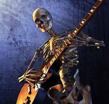 metal: Skeleton playing guitar - combines 3d render with digital painting.