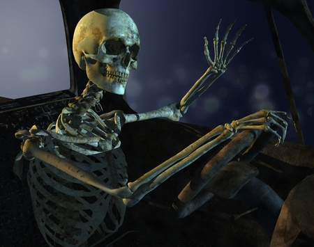rusty car: A skeleton drives a old rusty junkyard car - 3d render with digital painting. This guy has been stuck in traffic too long! Stock Photo