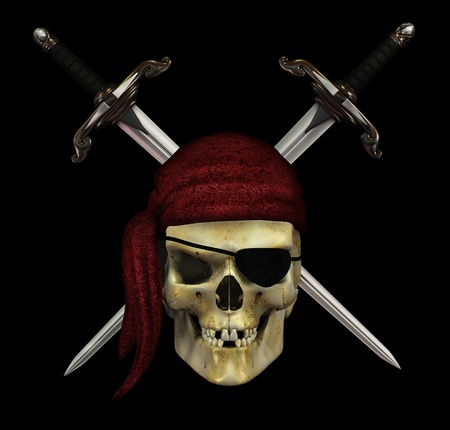 buccaneer: A pirate skull with crossed daggers on black - 3d render. Stock Photo