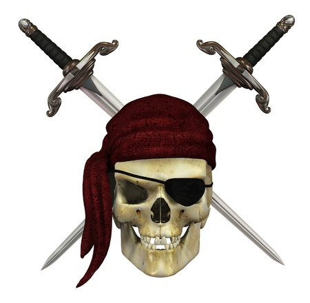piracy: A pirate skull with crossed daggers - 3d render.