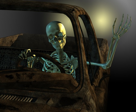 3d weird: A friendly skeleton drives a old rusty junkyard car - 3d render with digital painting. Stock Photo
