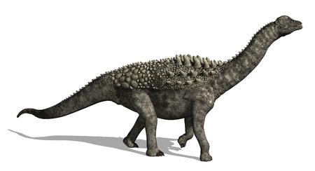 sauropod: Un Ampelosaurus es dar un paseo - 3D rinden. Foto de archivo