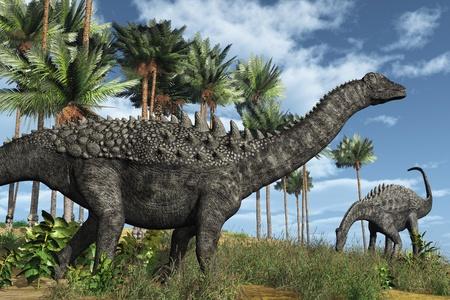 sauropod: Escena prehist�rica con los dinosaurios ampelosaurus - 3D rinden.