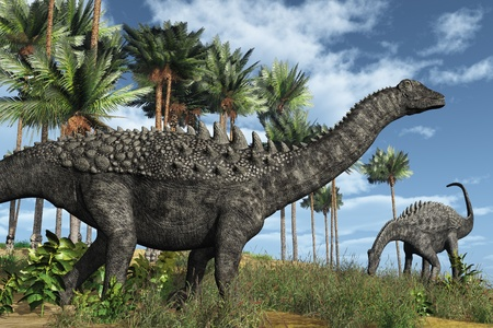 Prehistoric scene with ampelosaurus dinosaurs - 3D render.