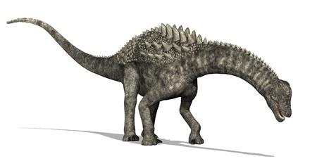 sauropod: Un dinosaurio Ampelosaurus est� navegando - 3D rinden. Foto de archivo