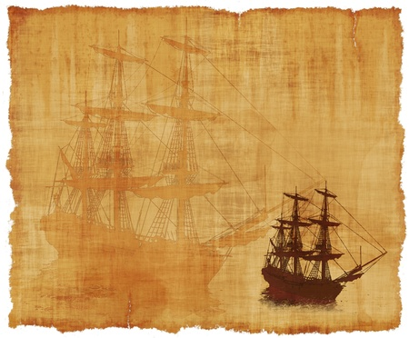 An old worn parchment with a tall ships theme - 3d renders with digital painting.