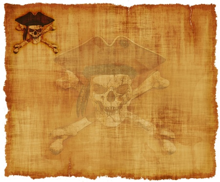 An old worn parchment with a grunge pirate skull theme - 3d renders with digital painting. photo