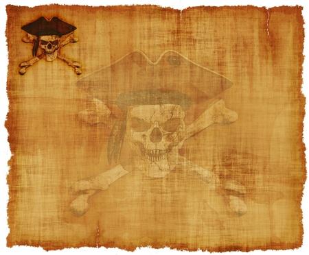 crane pirate: Un vieux parchemin port� avec un th�me grunge cr�ne de pirate - 3d rend avec la peinture num�rique.