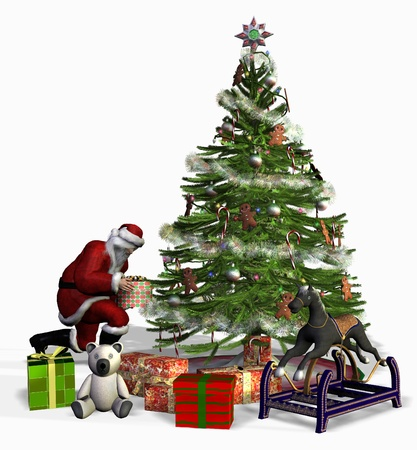 under tree: Santa places gifts under a Christmas tree.