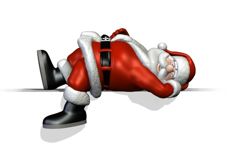 3D render of a cartoon Santa, relaxing on an edge. Getting ready for Christmas is a lot of work, he needs some rest! photo