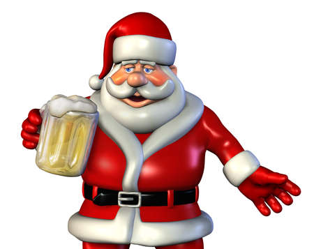 cartoon santa: Santa enjoys a mug of beer, close cropped - 3d render.