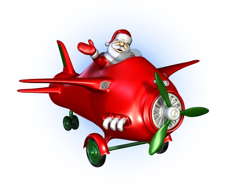 Santa is flying a plane  - 3D render. Stock Photo