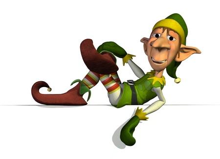 duendes de navidad: Elf de Santa se relaja en una arista - render 3D. Foto de archivo