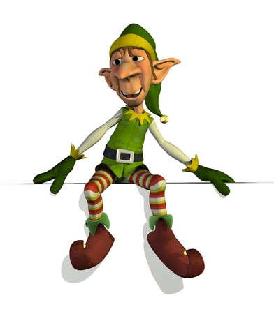 christmas elf: Santas Elf sitting on an edge - 3D render.