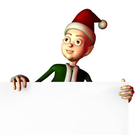 Santas elf is holding onto the edge of a blank sign - 3D render. photo