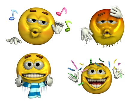 shivering: 3d render of four emoticons depicting - musical, too hot, freezing, and celebrating. Stock Photo