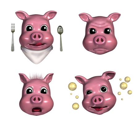 pouty: Piggy Emoticons 3 - 3D render - depicting hungry, pouty, scared and tipsy faces.