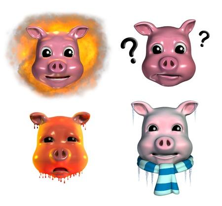 Four piggy emoticons depicting,  Stock Photo - 11122863