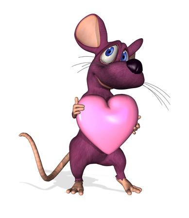 3D render of a cute cartoon mouse holding a heart.