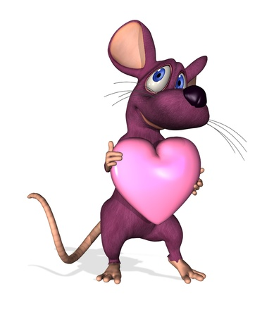 3D render of a cute cartoon mouse holding a heart. photo