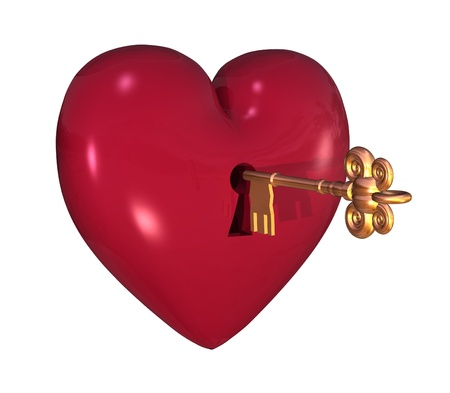 3D render of a heart with a keyhole and key. photo
