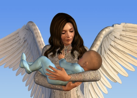 heavenly angel: An angel holds a baby - 3D render. Stock Photo