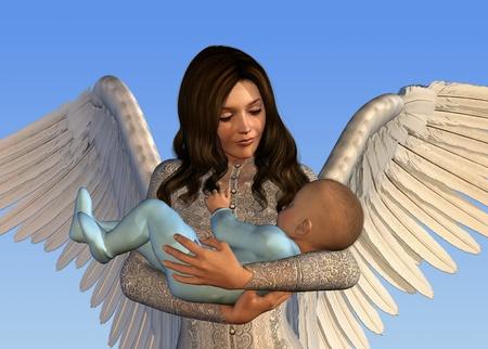 baby angel: Un angelo in possesso di un bambino - rendering 3D. Archivio Fotografico