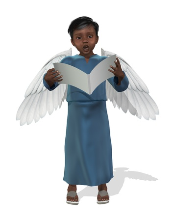 3D render of a little african angel singing. photo