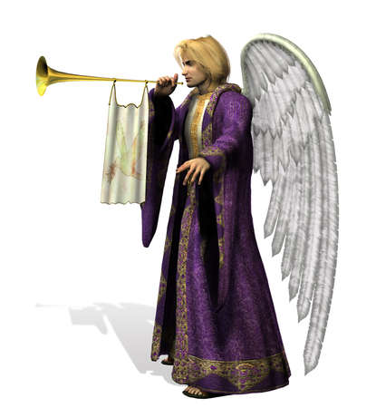 Angel Gabriel - side view - 3D render photo