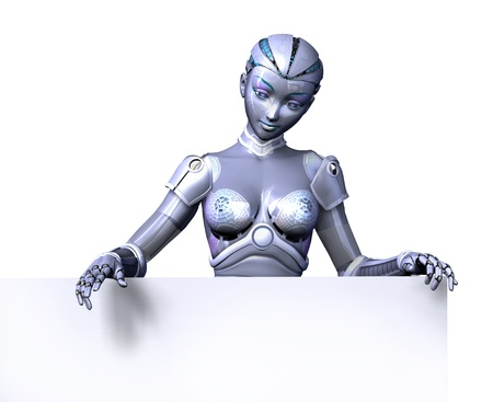 robot woman: 3D render of a female robot looking over the top edge of a blank sign.