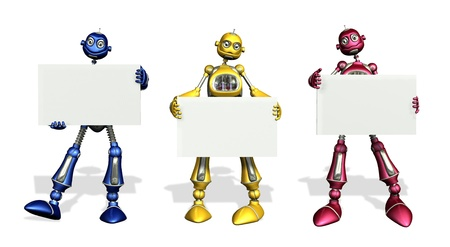 AI: Three colorful robots with blank signs - 3D render Stock Photo