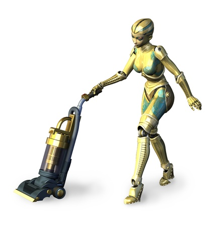 The future of housework 2 - Robot vacuuming - 3D render. photo