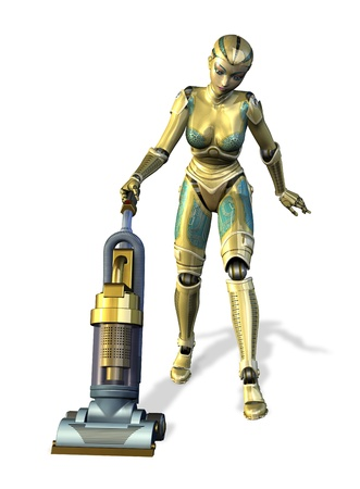 housecleaning: The future of housework - Robot vacuuming - 3D render.