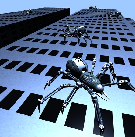 An invasion of Robot Spiders - 3D render. photo