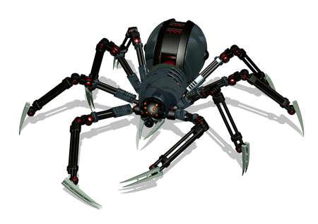 3D rendent d'une araignée robot.