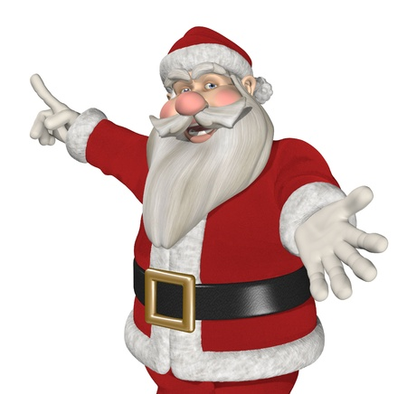 A cartoon Santa is inviting you to take a look at something interesting - 3D render.