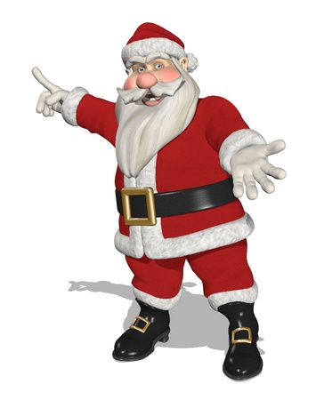 interesting: A cartoon Santa is inviting you to take a look at something interesting - 3D render.