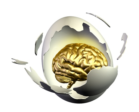repression: 3D render of a brain inside an egg breaking open Stock Photo