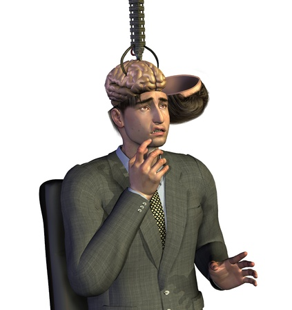 thoughtless: Businessman having his brain removed - 3D render.