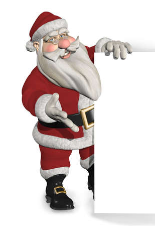 border cartoon: A cartoon Santa stands near an edge or border - 3d render. Stock Photo